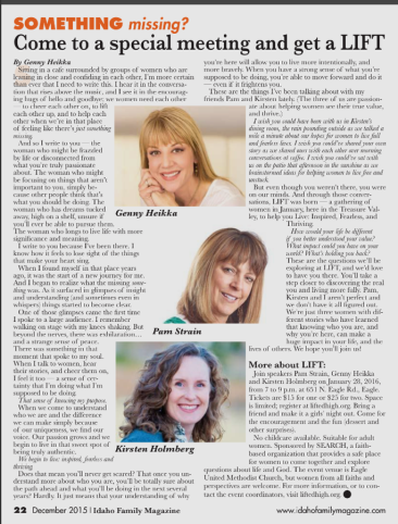 LIFT featured in Idaho Family Magazine!