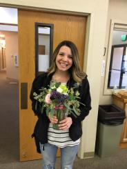 Setting up the floral arrangements - thank you talented Jessica!
